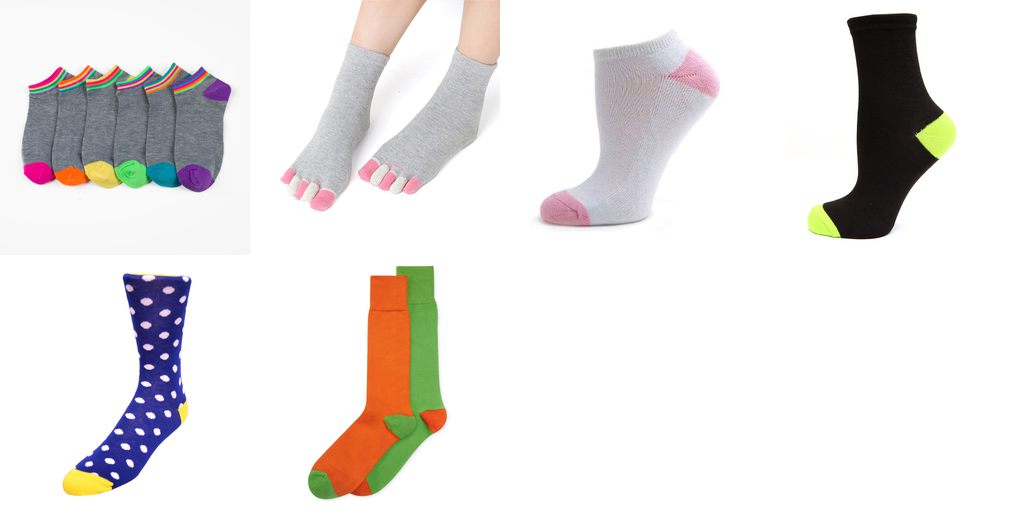 colored heel and toes socks