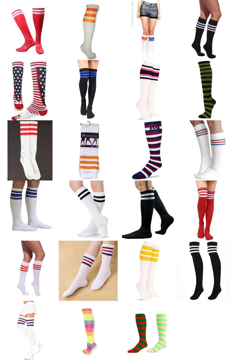 striped knee high tube socks